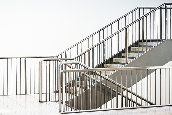 Stainless Steel Handrail. Patch Fitting Glass Railing With ...